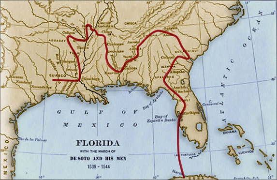 Map of Travels Hernando de Soto – Places Traveled Map